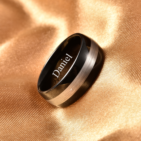 Personalised Engravable Natural Tungsten Dual Tone Secret Message Band Ring