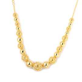 Super Auction- RACHEL GALLEY Gold Overlay Sterling Silver Graduated Globe Necklace with Magnetic Lock (Size 20), Silver wt 44.78 Gms.