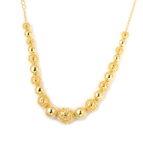 Super Auction- RACHEL GALLEY Gold Overlay Sterling Silver Graduated Globe Necklace with Magnetic Lock (Size 20), Silver wt 42.5 Gms.