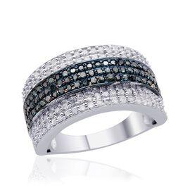 Diamond (Rnd), Blue Diamond Ring in Platinum Overlay Sterling Silver 1.000 Ct.