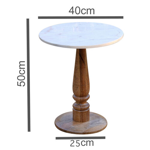Luxury Edition- Marble Round Side Table (Ivory).Size Top 40X40 cm Height 50 Cm