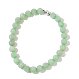Green Aventurine Ball Necklace (Size 20) with Magnetic Clasp in Rhodium Plated Sterling Silver 1125.000 Ct.
