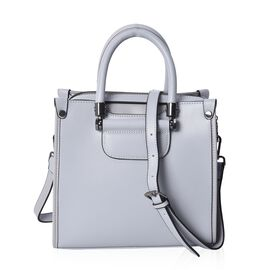 100% Genuine Leather Grey Colour Tote Bag (Size 24x11.5x22 Cm) with Detachable Shoulder Strap
