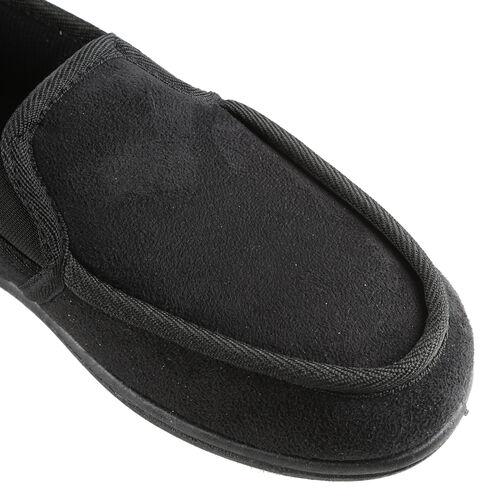 Dunlop Mens Gusset Moccasin Slippers (Size 8) - Black