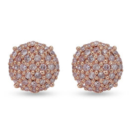 9K Rose Gold Natural Pink Diamond Stud Earrings (with Push Back) 0.28 Ct.