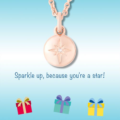 RACHEL GALLEY Diamond Kids Star Pendant with Chain (Size 16) in Rose Gold Overlay Sterling Silver 0.08 Ct, Silver wt 5.96 Gms