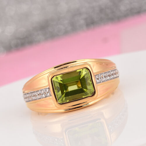 AA Hebei Peridot and Natural Cambodian Zircon Ring in 14K Gold Overlay Sterling Silver, Silver wt 6.22 Gms