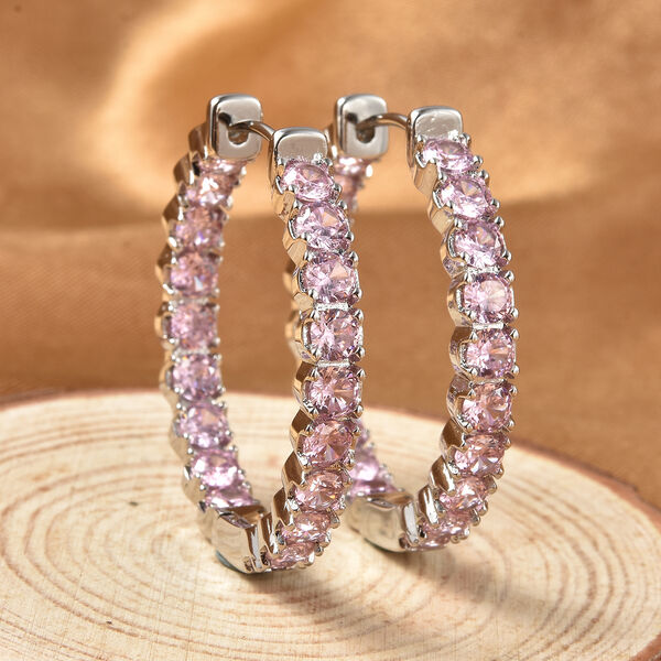 Simulated Pink Sapphire (Rnd) Inside-Out Hoop Earrings (with Clasp) in Silver Tone 7.98 Ct.