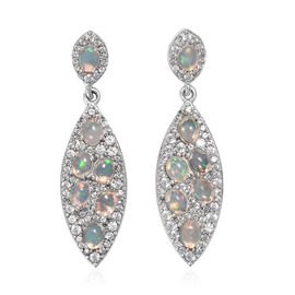 3.03 Ct Ethiopian Opal and Cambodian Zircon Cluster Drop Earrings in Sterling Silver 5 Grams