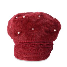 Faux Fur Simulated Pearl Woven Design Hat (Size 50 Cm) - Wine