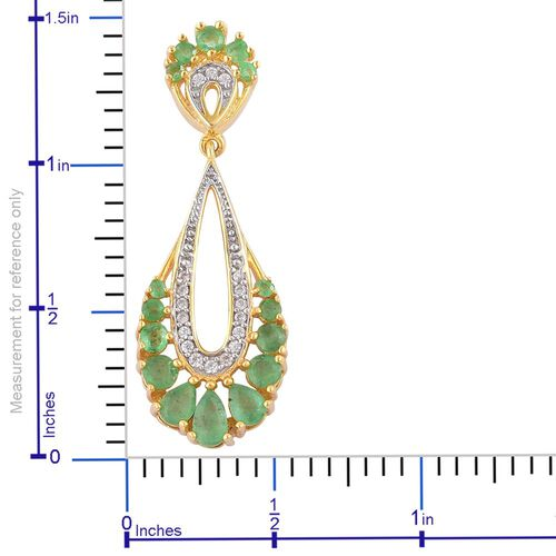Kagem Zambian Emerald (Pear), White Zircon Pendant in Yellow Gold Overlay Sterling Silver 1.270 Ct.