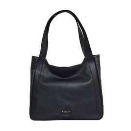 Assots London Harriet Genuine Leather Slouchy Hobo Bag (Size 35x29x7cm) - Black