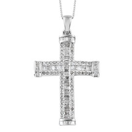 Diamond (Bgt) Cross Pendant with Chain in Platinum Overlay Sterling Silver 1.000 Ct, Number of Diamonds - 132.