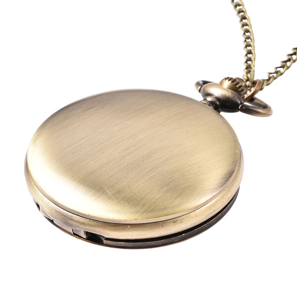 STRADA Japanese Movement Woman and Floral Pattern Pocket Watch with Chain (Size 31) in Antique Bronze Tone