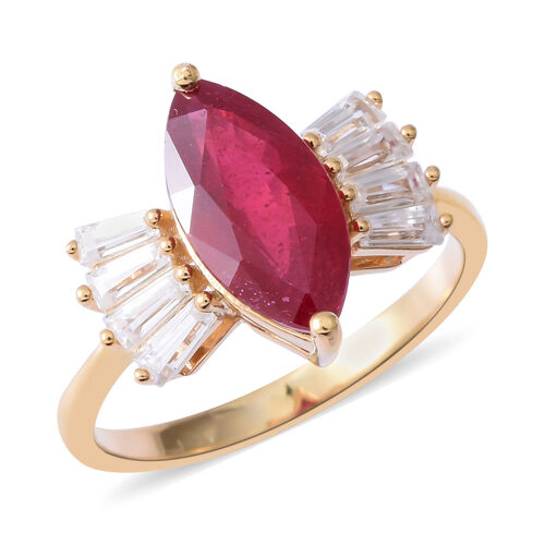 African Ruby (Mrq 3.80 Ct), Natural White Cambodian Zircon Ring in Yellow Gold Overlay Sterling Silv
