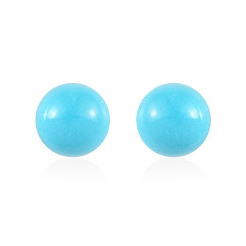 AA Arizona Sleeping Beauty Turquoise Ball Stud Earrings (with Push Back) in Platinum Overlay Sterlin