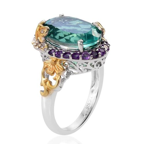 GP Peacock Quartz (Ovl 9.75 Ct), Amethyst, White Topaz and Kanchanaburi Blue Sapphire Ring in Platinum and Yellow Gold Overlay Sterling Silver 10.250 Ct. Silver wt 5.52 Gms.