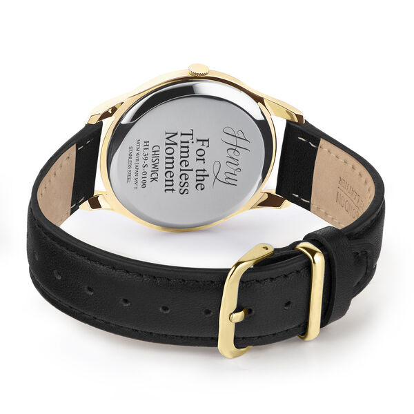 Personalised Engravable Henry London Chiswick Ladies Watch with Black Calf Leather Strap