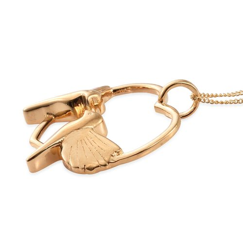 14K Gold Overlay Sterling Silver Dove Birds Pendant With Chain, Silver wt 5.52 Gms.
