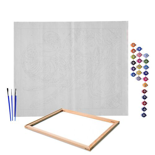 Colourful Elephant Painting by Numbers kit (Includes 1 Piece Pre-printed textured art canvas, 3 Pain