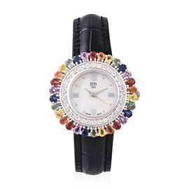EON 1962 Swiss Movement Water Resistant Rainbow Sapphire (5.40 Ct) and White Topaz Studded Watch wit