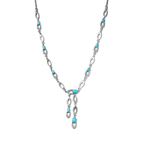 Designer Inspired- Arizona Sleeping Beauty Turquoise and Natural Zircon Necklace (Size 18) in Platin