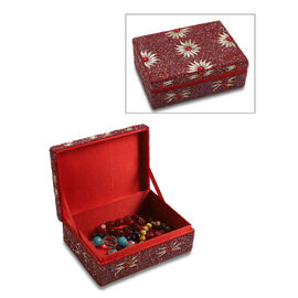 Handcrafted Decorative Beads Bling Storage Box with Inside Lining (Size 18.5x13x5.7 Cm) - Red and Mu