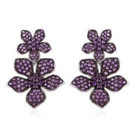 Designer Inspired-Amethyst Floral Earrings (with Push Back) in Black and Rhodium Plated Sterling Sil