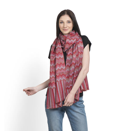 100% Cashmere Wool Red and Multi Colour Zig Zag Pattern Scarf (Size 200x70 Cm)