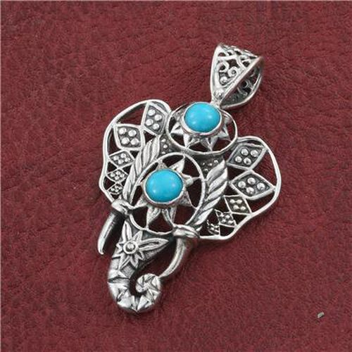 Arizona Sleeping Beauty Turquoise (Rnd) Elephant Pendant in Sterling Silver