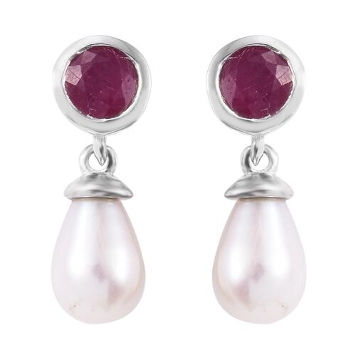 Freshwater Pearl and African Ruby Drop Earrings (with Push Back) in Platinum Overlay Sterling Silver