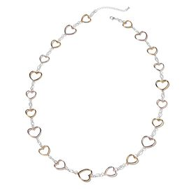 Heart Station Necklace (Size 41 with 3 inch Extender) in Silver, Rose and Yellow Gold Tone