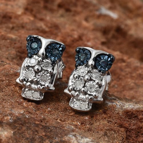 Blue Diamond (Rnd), Diamond Owl Earrings (with Push Back) in Platinum and Blue Overlay Sterling Silver 0.100 Ct.