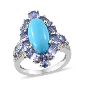 SLEEPING BEAUTY TURQUOISE (2.75 Ct),Tanzanite,Cambodian Zircon Platinum Overlay Sterling Silver Ring  5.500  Ct.