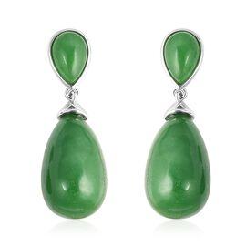 Green Jade Teardrop Earrings (with Push Back) in Rhodium Overlay Sterling Silver 45.25 Ct.