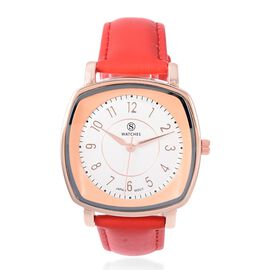 STRADA Japanese Movement Water Resistant Watch with Red Strap