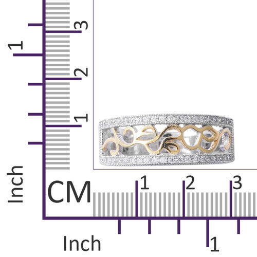 ELANZA Simulated Diamond (Rnd) Half Eternity Ring in Rhodium and Yellow Gold Overlay Sterling Silver