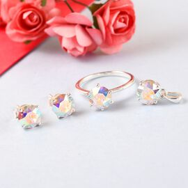 3 Piece Set -  AB Swarovski Crystal Solitaire Stud Push Post Earring and Solitaire Ring and Soli  Sterling Silver 4.00 ct  4.000  Ct.