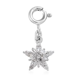 White Diamond Snowflake Charm in Platinum Plated Sterling Silver