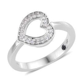 GP Natural Cambodian Zircon (Rnd), Kanchanaburi Blue Sapphire Heart Ring in Platinum Overlay Sterlin