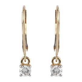 9K Yellow Gold SGL Certified Diamond (Rnd) (G-H/I3) Lever Back Earrings 0.33 Ct.