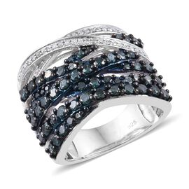 Blue and White Diamond (Rnd) Platinum Overlay Sterling Silver Crossover Ring 1.75 Ct, Silver wt 7.98