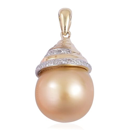 9K Yellow Gold AA South Sea Golden Pearl (Rnd 11-11.5mm), Diamond Pendant