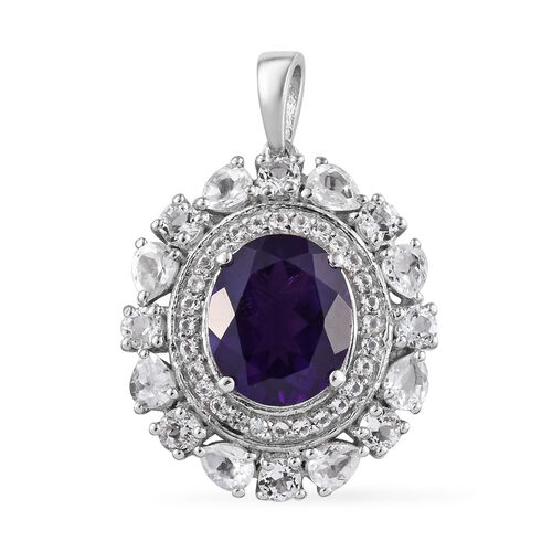 Lusaka Amethyst (Ovl 12x10 mm), White Topaz Pendant in Platinum Overlay Sterling Silver 7.000 Ct.?