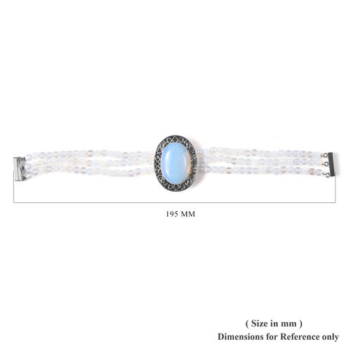Opalite Bracelet (Size 7.5) with Magnetic Clip in Stainless Steel 70.00 Ct.