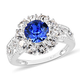 J Francis Crystal from Swarovski Sapphire Colour Crystal and White Crystal Ring in Sterling Silver