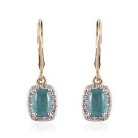 9K Yellow Gold AA Grandidierite (Cush), Natural Cambodian Zircon Lever Back Earrings 2.20 Ct, Gold w