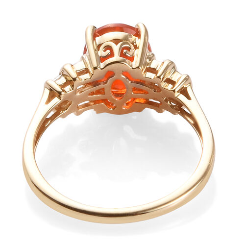 One Time Close Out Deal- 14K Yellow Gold AAA Jalisco Fire Opal (Ovl 9x7 mm) and Diamond (I3/G-H) Ring 1.50 Ct.