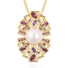 LucyQ Edison Pearl and Multi Gemstone Pendant With Chain in Gold Plated Sterling Silver 12.80 Grams