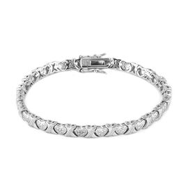 New York Close Out Deal - Hugs and Kisses Diamond  Bracelet (Size 7) Silver Plated
